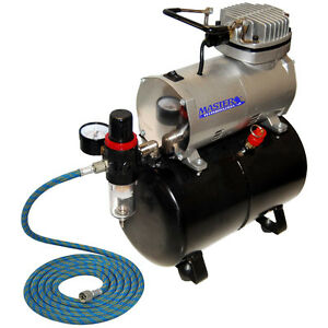 Powerful-Master-AIRBRUSH-AIR-COMPRESSOR-w-AIR-TANK-Regulator-Filter-Free-Hose