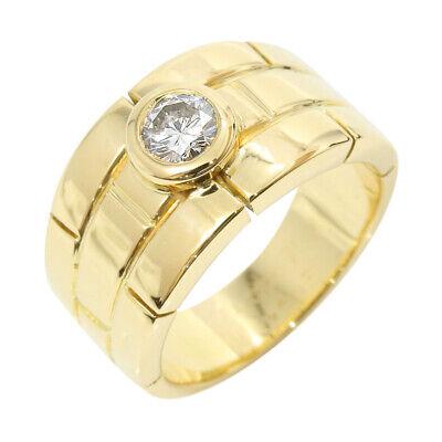 Authentic Cartier 18K Yellow Gold Diamond Ring US5.25 EU50 A1994