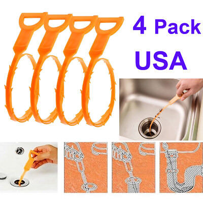 Us 4 Pack Drain Pipe Cleaning Hair Grime Remover Rod Sink Household Cleaner Tool