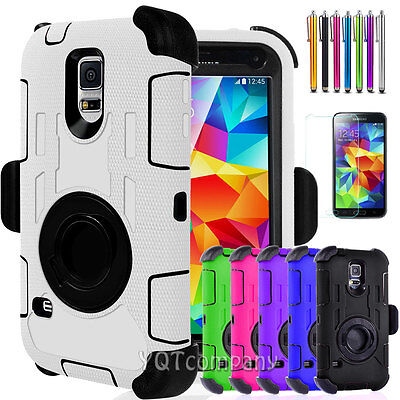 For Samsung Galaxy S5 Shockproof Rugged Hybrid Rubber Hard Phone Cover Case Clip