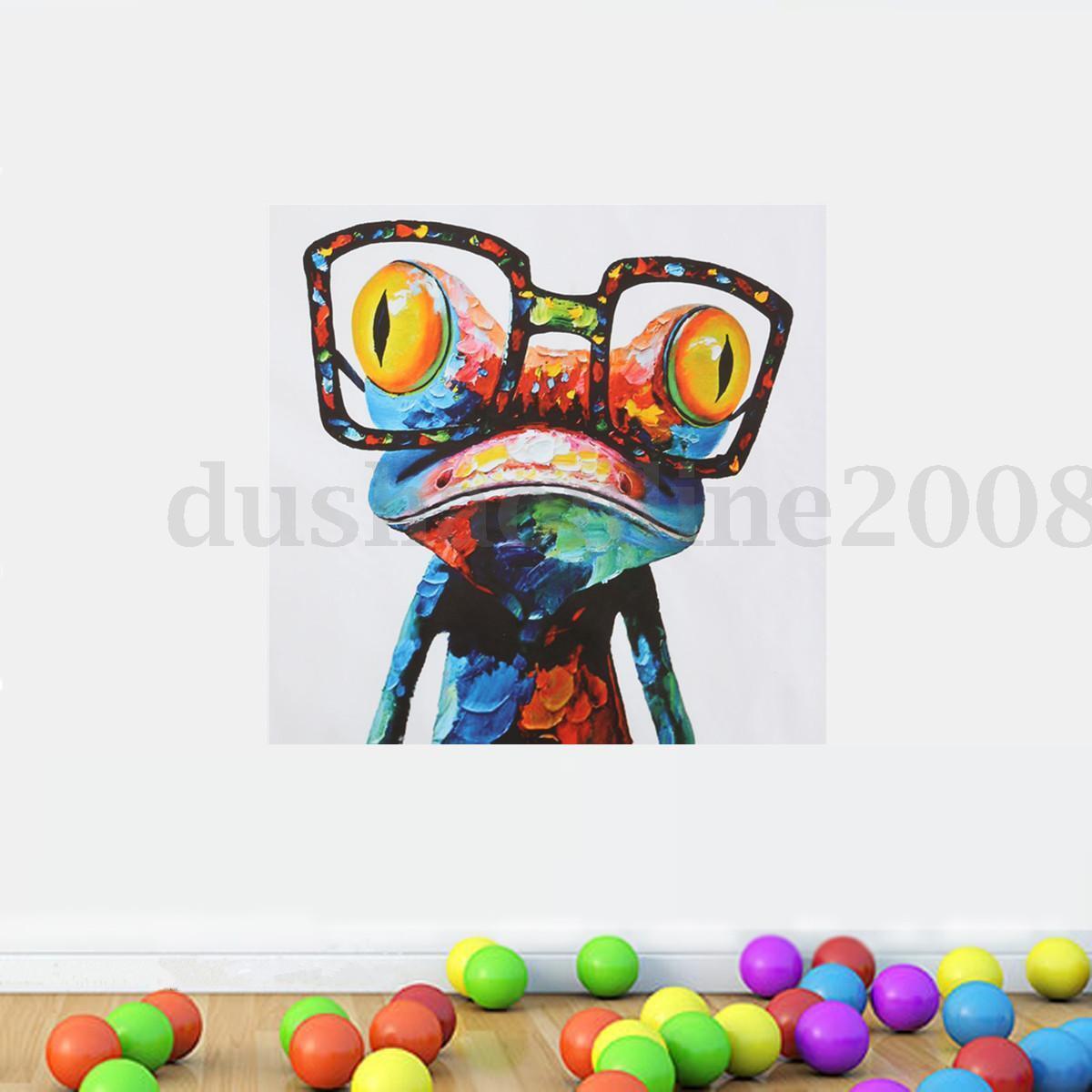 peinture l 39 huile toile tableau abstraite grenouille lunettes art moderne d cor eur 9 99. Black Bedroom Furniture Sets. Home Design Ideas