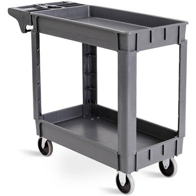 Plastic Utility Service Cart 550 Lbs Capacity 2 Shelves Rolling 40 X 17 X 33