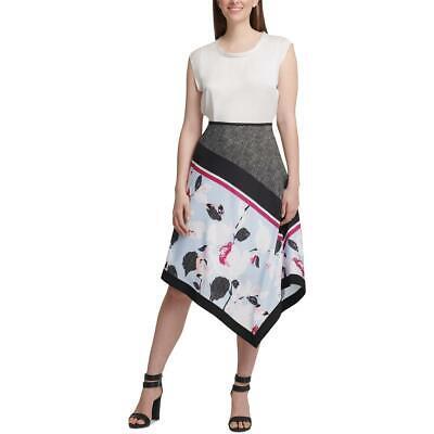 DKNY Womens Printed Asymmetrical A-Line Midi Skirt BHFO 7435