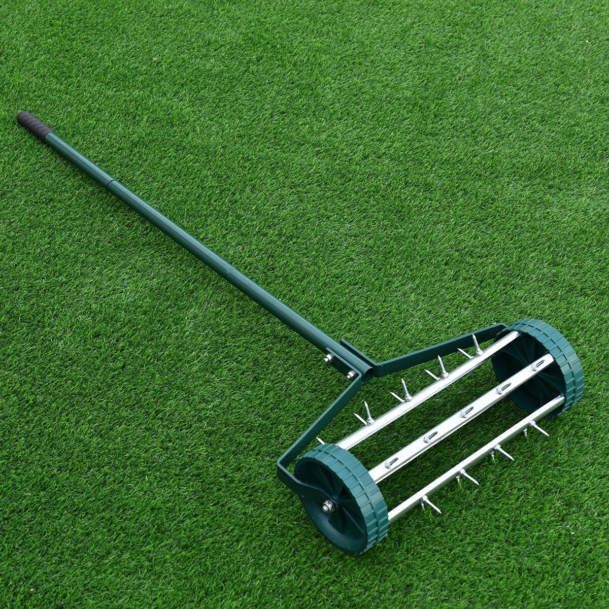 Heavy Duty Rolling Grass Lawn Garden Aerator Steel Spike