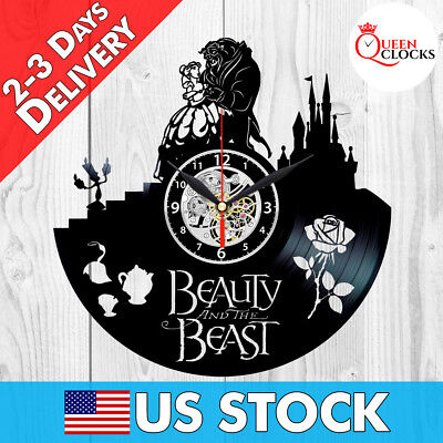 Disney Beauty And The Beast Gifts (Beauty and the Beast Disney Rose 2017 Vinyl Record Wall Clock Decor Best)