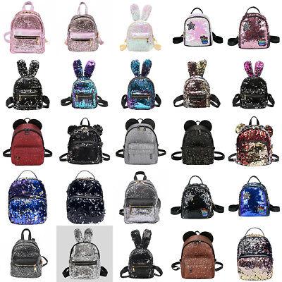 Women Girls Sequins Bling Mini Backpack Travel School Backpack Rucksack Bookbag (Mini Book Bags)