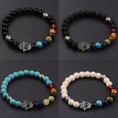 Fashion Natural Stone Energy Yoga Reiki 7 Chakra Handmade Men Charm Bracelets