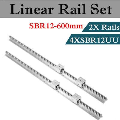 Sbr12-600mm Linear Rail Guide Shaft Rod With 4 Sbr12uu Blocks Bearing For Cnc