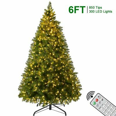 6FT Artificial Christmas Pine Fake Trees Detachable with 300 LED Lights Remote