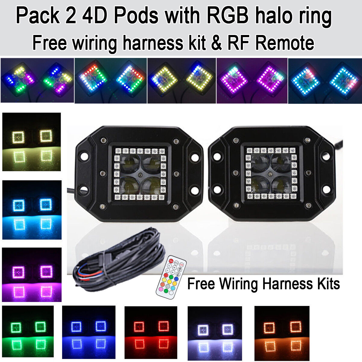2x 4D CREE Led Work Light Flush Mount Pods & RGB Halo Ring Kits Fog Driving Lamp