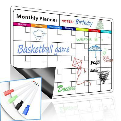 Magnetic Dry Erase Monthly Calendar Set With Stain Resistant Technology 16.5x12