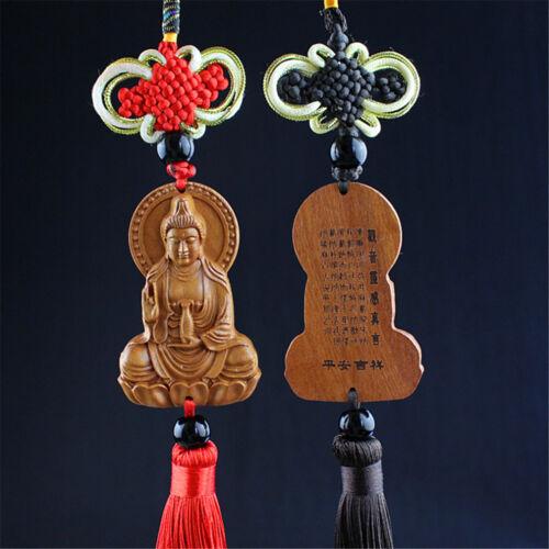 Jujube Wood Carving Balck Chinese Kwan Yin Buddha Statue Sculpture Car Pendant