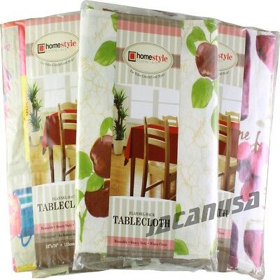 Flannel Back Vinyl Tablecloth Waterproof Floral Assorted Color & Size