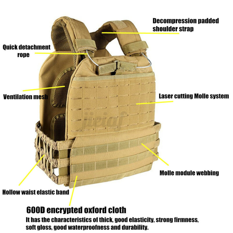 Men Women Tactical Vest Molle Combat Plate Carrier Endurance Weighted Training