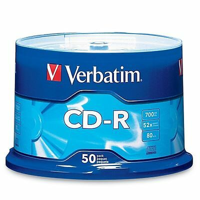 50 Verbatim Cd R Cdr 700Mb 52X Branded 80Min Media Disc 94691 Free 50 Sleeves