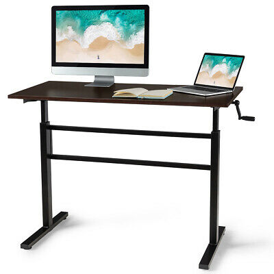 Standing Desk Height Adjustable Sit To Stand Workstation Wcrank Handle Brown