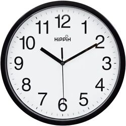Large Indoor/Outdoor Decorative Black Silent Wall Clock Universal Non Ticking