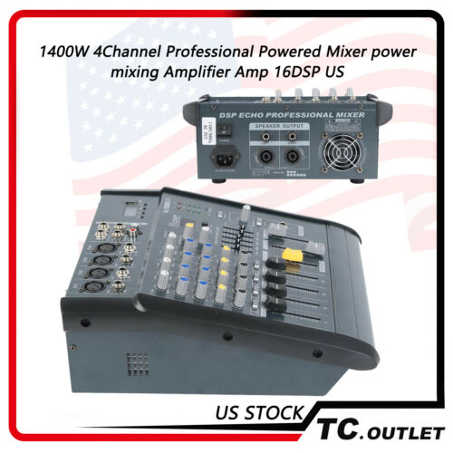 1400W 4CH Professional Powered Mixer Power Mixing Amplifier