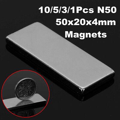 1-10pcs 50x20x4mm N50 Strong Big Block Fridge Magnet Super Rare Earth Neodymium