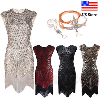 1920 Great Gatsby Dresses (1920s Flapper Great Gatsby Dresses Cocktail Party Evening Sequins Tassels)
