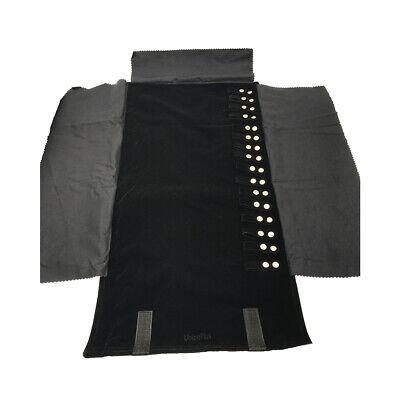 Large Travel Necklace Jewelry Roll Bag Organizer Black Soft - Black Velvet Jewelry Travel Roll