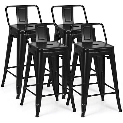 - Set of 4 Low Back Metal Counter Stool 24