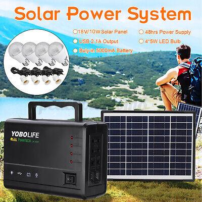 10W Solar Power Panel Generator Storage USB Charger LED Light Home Kit 110V