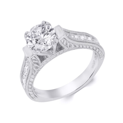 Womens 1.25 Carat CT Promise Engagement Ring Round Cut 6x6mm Stone Solid Silver