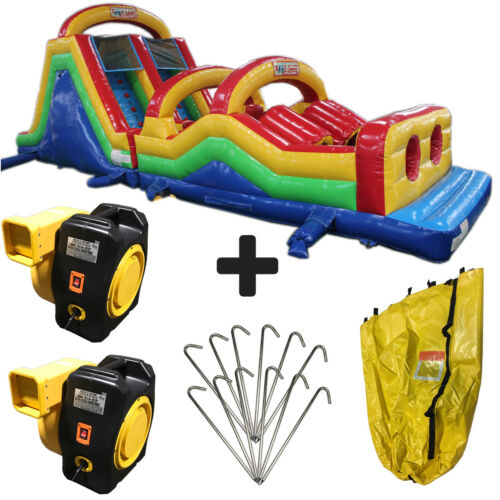 New 50ft Obstacle Course Commercial Inflatable Bounce House With Slide