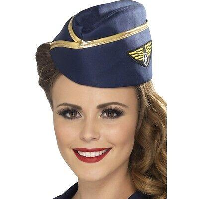 Adult Pilot Costume (Womens Hostess/Pilot Hat Aviator Navy Blue Gold Trim Stewardess Costume)