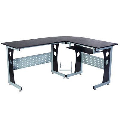 Wood Metal Corner Computer Office Desk Table Slide Pull Out Keyboard Tray Black
