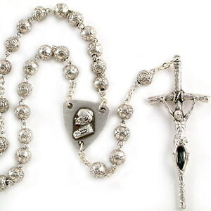 NEW MADE IN ITALY POPE JOHN PAUL II SILVER ROSEBUD BEAD ITALIAN ROSARY