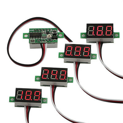 5pcs Mini Dc 0-30v Red Led 3-digital Display Voltage Voltmeter Panel Motorcycle