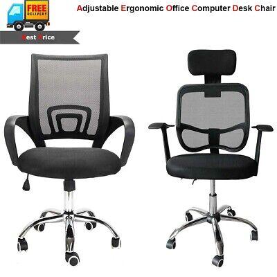 Adjustable Ergonomic Office Computer Desk Chair Mesh Seat Swivel Executive Black
