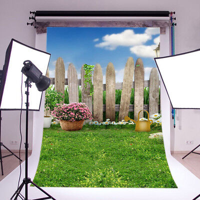 Wood Fence Spring Outdoor Scenic 3X5FT Vinyl Studio Backdrop Photo Background US