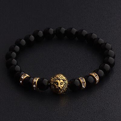 8mm Natrual Colorful Gold/silver Lion Gemstone Handmade Fashion Men Bracelets