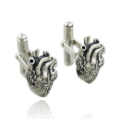 Men's Anatomical Heart Cuff Links 925 Sterling Silver Love Gift Doctor Cufflinks