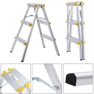 New 3 Step Aluminum Ladder Folding Platform Work Stool 330 lbs Load Capacity