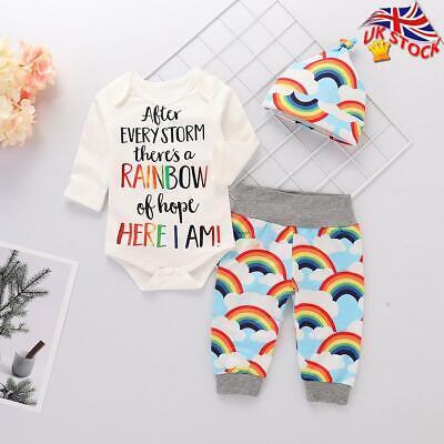 3Pcs Newborn Baby Girl Boy Rainbow Romper Jumpsuit Pants Hat Set Outfits Clothes