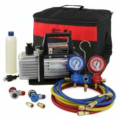 XtremepowerUS 71097 3CFM or 4CFM Air Vacuum Pump HVAC A/C Refrigeration Kit AC