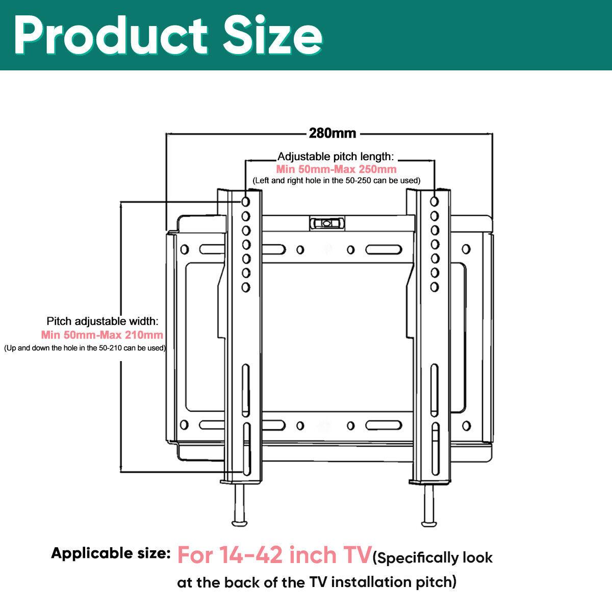 Universal Slim Tv Wall Bracket Mount 14 42 32 39 40 Inch Plasma Engineering Schematics Flat Screen Lcd Led