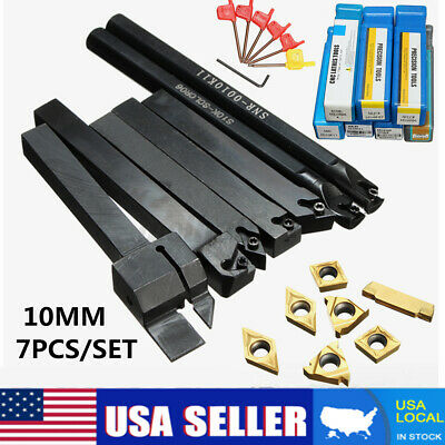 7 Set 10mm Shank Lathe Turning Tool Holder Boring Bar Holder Carbide  Wrench