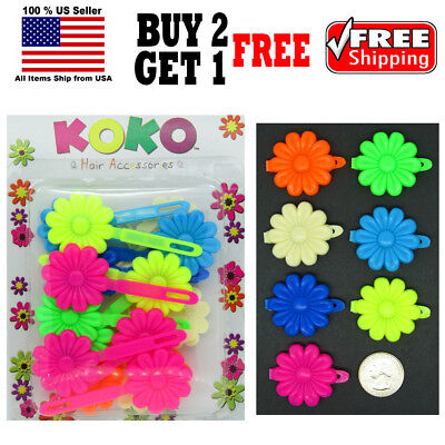 Girls Kids Neon Colors Daisy Flower Hair Barrettes Snap Clips Holder - Neon Daisy