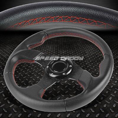 320MM BLACK SPOKE RED STITCH LIGHTWEIGHT 6-BOLT LEATHER RACING STEERING WHEEL