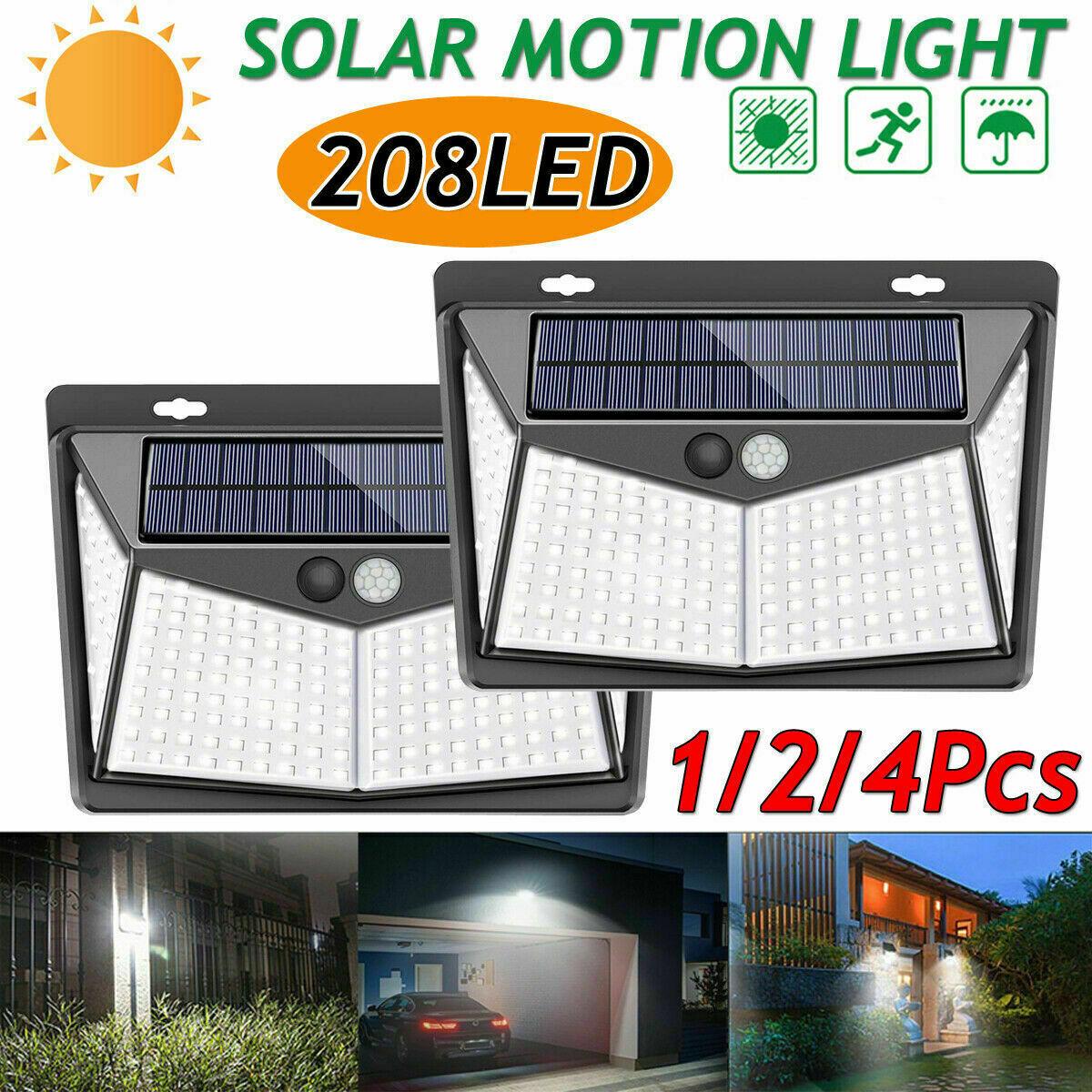 Waterproof 208 LED Solar Lamp Outdoor Garden Yard PIR Motion Sensor Wall Light