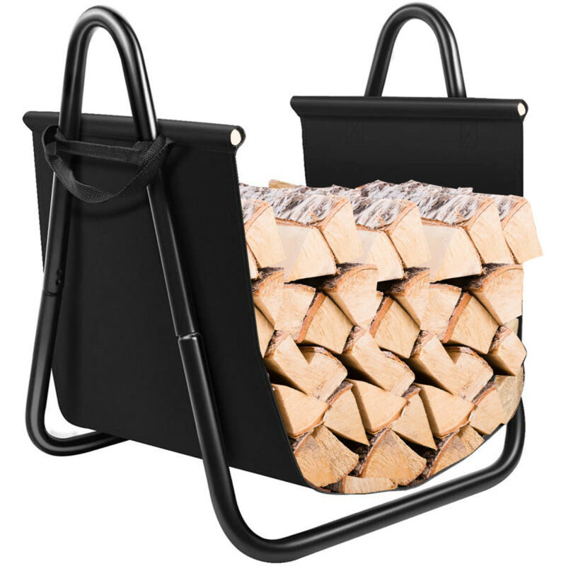 Firewood Rack Log Holder W/ Canvas Tote Carrier for Fireplace Outdoor Backyard
