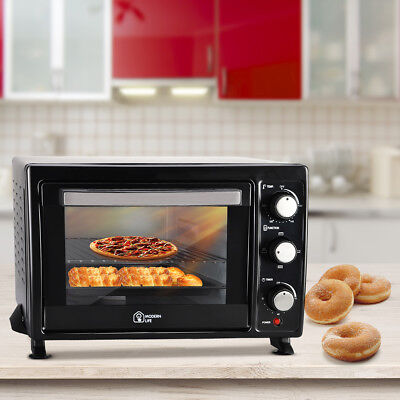 22L Electric Mini Oven Table Top Roaster Baking Rotisserie Grill Cooker Black UK