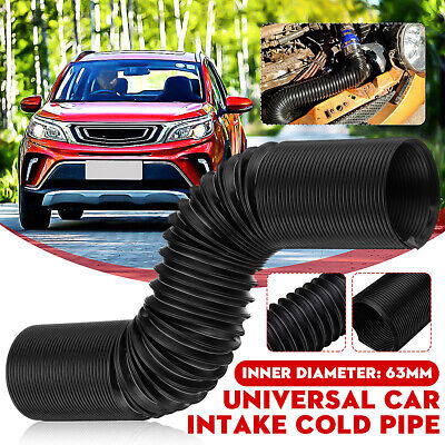 63mm 1M Car Air Intake Cold Pipe Flexible Ducting Feed Hose Induction Kit  ~