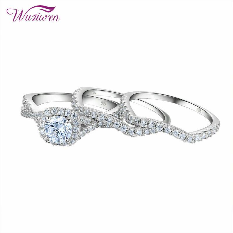 Wuziwen 3pcs Wedding Engagement Ring Set Round Aaaa Cz Blue 925 Sterling Silver