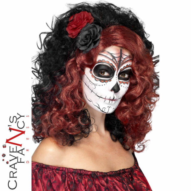 Adult Day of the Dead Wig with Roses Halloween Fancy Dress Costume Outfit